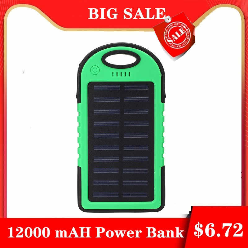 Top Solar Power Bank 12000 MAh Tahan Air Solar Charger 2 Port USB Charger Eksternal Powerbank untuk Xiao Mi Mi iPhone 8 Smartphone