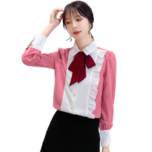 2019 New Autumn Women Shirts Ruffles Peter pan Collar Chiffon Tie Western Style Blouse Shirt 6672
