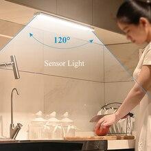 Wireless LED Light Motion Sensor Lamp Wardrobe Closet Lights 33cm for Room Kitchen under Cabinet Lights Bedroom USB Rechargeable