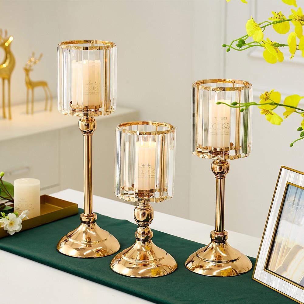Golden Metal Pillar Candle Holders Nordic Home Decor Metal Candlestick  3