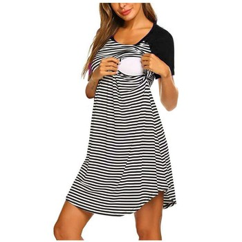 Striped Print Women's Maternity Dresses with Short Sleeve 1