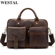 WESTAL men's briefcase men's genuine leather bag male laptop