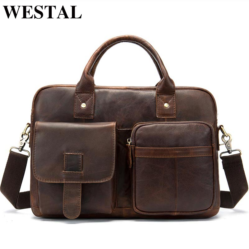 WESTAL Men's Briefcase Men's Genuine Leather Bag Male Laptop Bag Leather Briefcases Men Office Bags For Men Computer Bags 8503