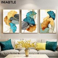 Póster de lienzo con planta de hojas de oro amarillo y verde azul, Pintura abstracta, arte de pared, estampado de cuadros modernos nórdicos, decoración para sala de estar