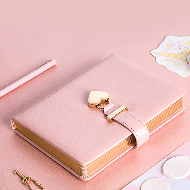 Heart Shaped Combination Lock Diary with Key Personal Organizers Secret Notebook Gift for Girls and Women
