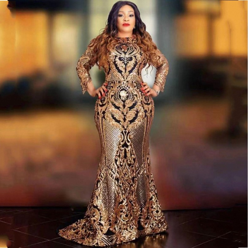 2020 African Dresses For Women Evening Dress Black Golden Sequins Beaded Formal Long Evening Party Dress Africa Clothing