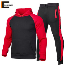 Casual Tracksuit Sweatshirt Sports-Pants Mens Clothing Hooded Patchwork New-Fashion 2pieces