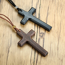 Holz Kreuz Halskette Auf Lederband Für Männer Anhänger In Schwarz Braun Ton Jesus Christus Herr Gebet Schmuck