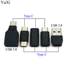цена на USB Type C Adapter Female to Female To male Converter Portable USB-C Charge Data Sync Adapter Type-C Extension Cable Converter