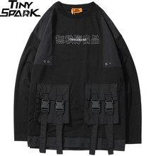 2019 Harajuku Pullover Sweatshirt Men Hip Hop Streetwear Chinese Kanji Print Multi Pockets Hoodie Pullover Cotton Hiphop Loose