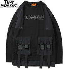 2019 Harajuku Sweatshirt Mannen Hip Hop Streetwear Chinese Kanji Print Multi Zakken Hoodie Trui Katoen Hiphop Losse