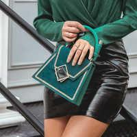 Simplee Elegante ricama Solido sacchetto di spalla delle donne dell'ufficio della signora borse in pelle retrò Pulsante femminile chic autunno borsa geometrica