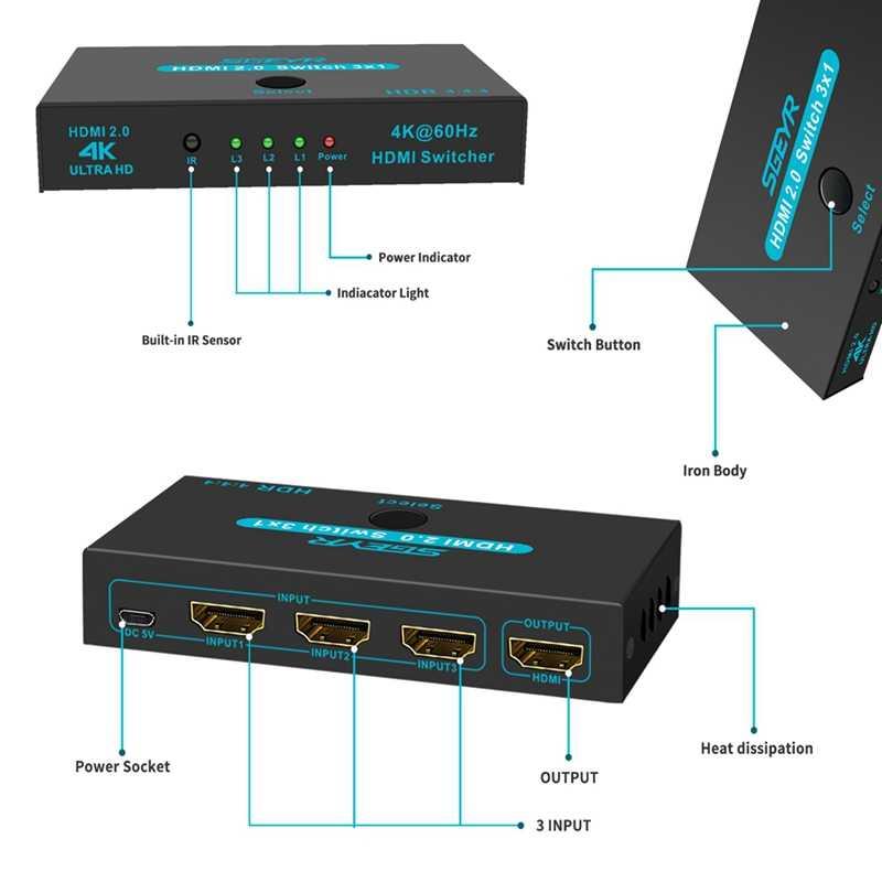 SGEYR interruptor HDMI 3 puertos 4K 3D 3x1 HDMI Splitter para Mi caja de PS4 Nintendo interruptor PC 3 en 1 3 Puerto conmutador HDMI Splitter