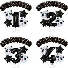 15 pçs dos desenhos animados animal preto folha número balão conjunto estrela panda crianças festa de aniversário decoração do chuveiro do bebê crianças animais ballon