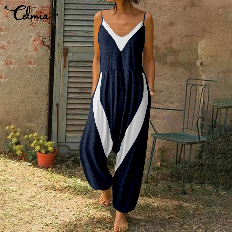 Celmia Women Sexy Sleeveless Jumpsuits V-neck Summer Playsuits Casual Loose Pockets Vintage Romper Patchwork Strap Knitted Pants