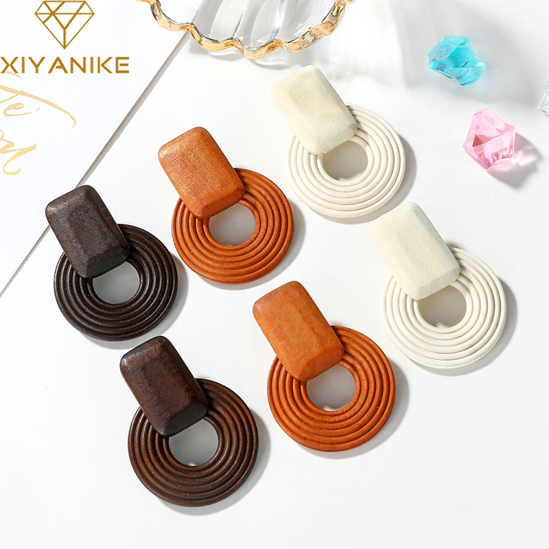 XIYANIKE New Wooden Earrings Ethnic Wood Geometric Round Drop Earrings Vintage Brown Korean Statement Earrings Fashion Jewelry