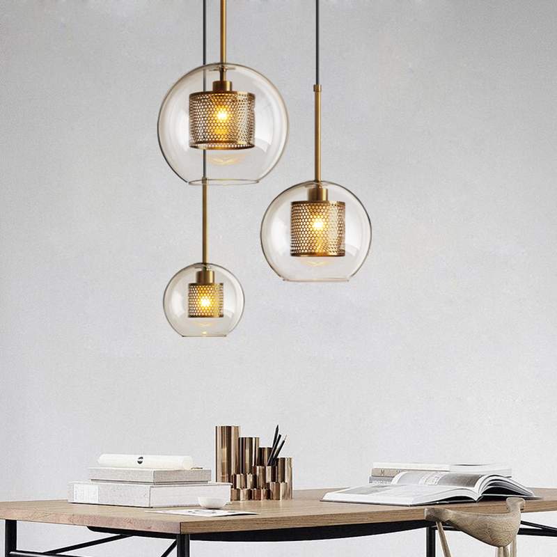 Işıklar ve Aydınlatma'ten Kolye ışıkları'de Loft Modern kolye ışık cam küre asılı lamba mutfak ışığı fikstür yemek Hanglamp oturma odası armatür title=
