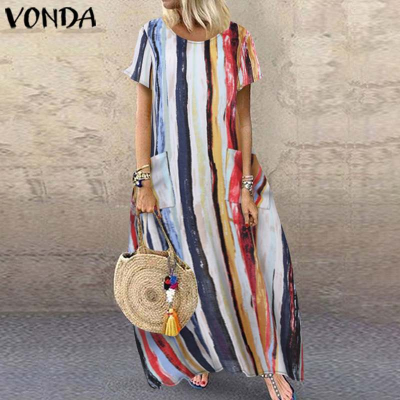 VONDA Summer Long Maxi Dress 2020 Women Casual O Neck Short Sleeve Vintage Printed Party Dresses Loose Bohemian Sundress 5XL