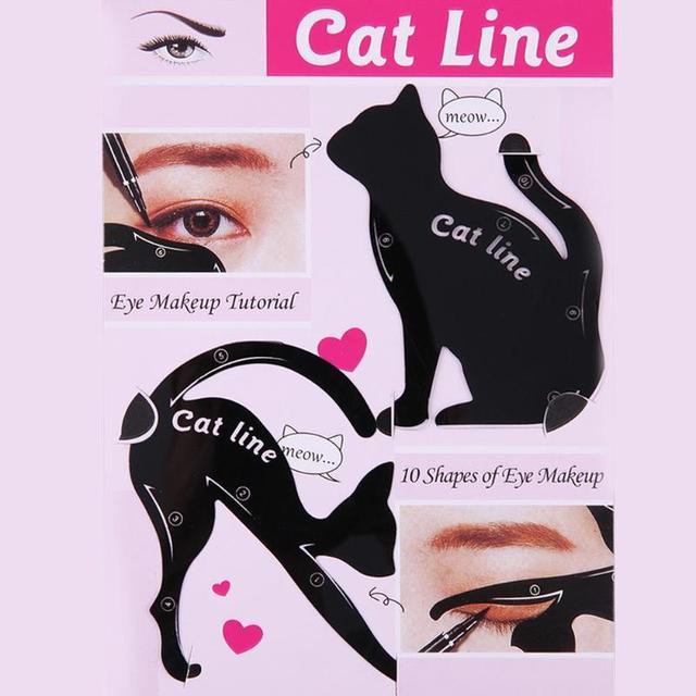 Hot 2pcs/Set Beauty Eyebrow mold Cat  Eye Makeup Tool Eyeliner Stencil Makeup Eyebrow Models Stamp Template Card for women girl 4