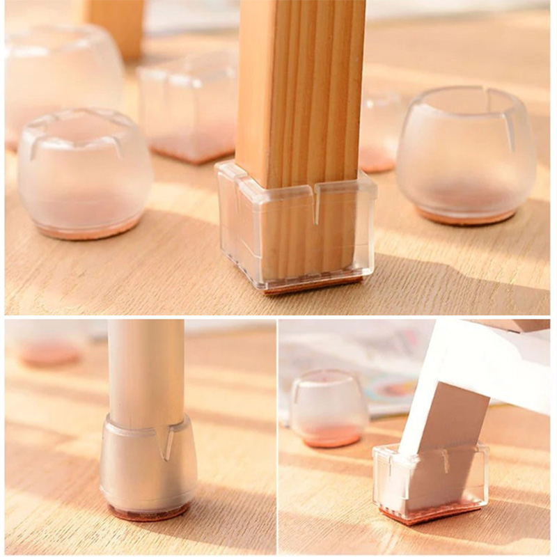 10pcs Silicone Rectangle Square Round Chair Leg Caps Feet Pads Furniture Table Covers Wood Floor Protectors   C66