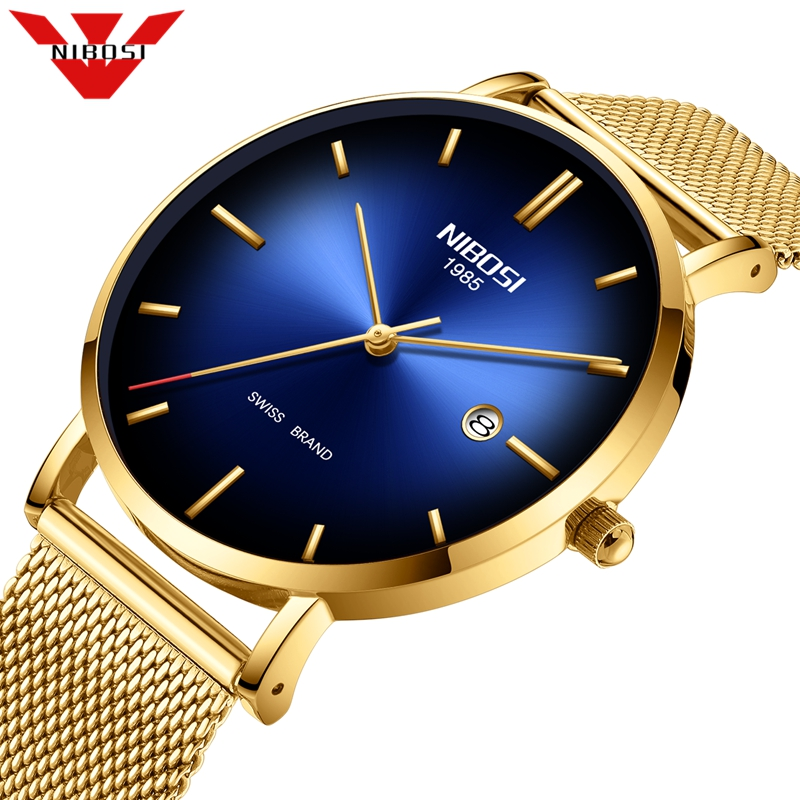 NIBOSI New Fashion Mens Watches Top Brand Luxury Quartz Watch Men Mesh Steel Waterproof Ultra-thin Wristwatch Relogio Masculino