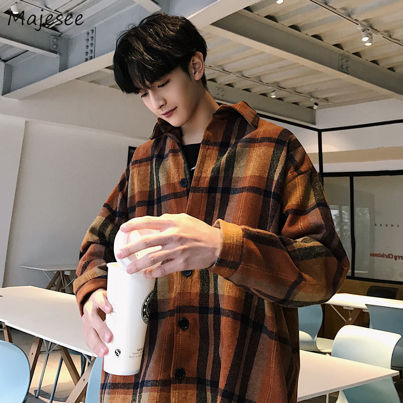 Men Shirts Plaid Turn-down Collar Long Sleeve Leisure Mens Retro Daily Outwear Chic Trendy All-match Korean Style Loose Ulzzang