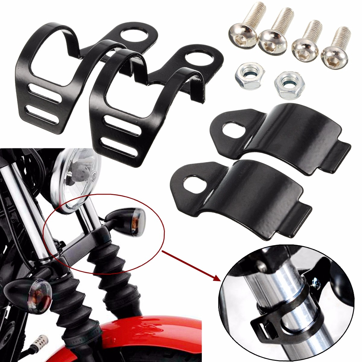 Fork Clamp Type Motorcycle Turn Signal Lamp Holder Headlight Turn Light Mount Bracket For 30-35mm Front Fork Scooter Motorcycle