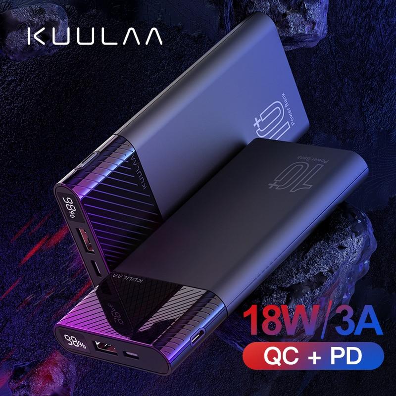 KUULAA 10000mAh PowerBank QC PD 3,0 banco de energía de carga rápida cargador portátil Poverbank para xiaomi mi 9 8 iPhone 11 X pawer banco