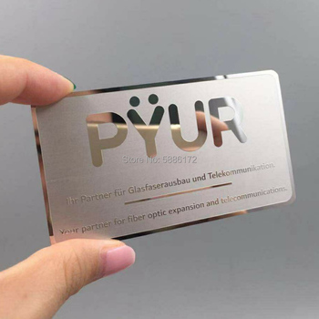 Steel 304 material hole/logo cutting out glossy/mirror stainless metal business cards from China manufacture new arrival etching and cutting through stainless steel metal material metal etched business cards