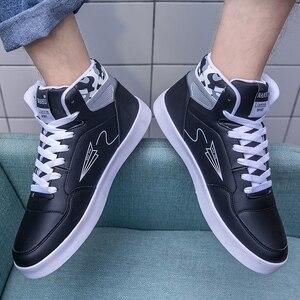 Image 2 - באיכות גבוהה מותג גברים נעליים יומיומיות מכירה לוהטת שחור נעליים יומיומיות גברים לנשימה אביב אופנה גבוהה למעלה מקרית גברים נעלי לבן