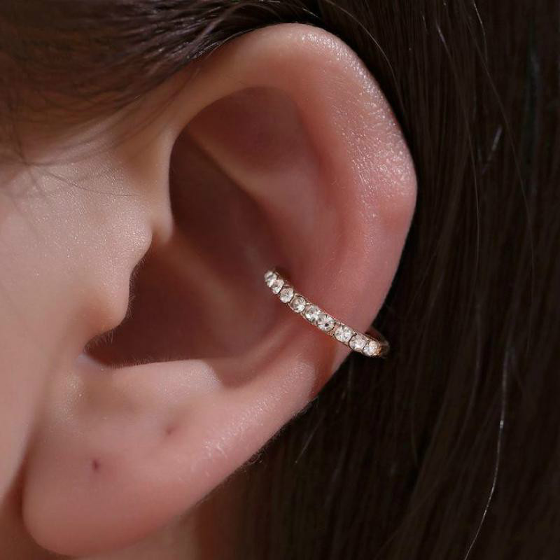Korean Crystal Clip Earrings For Women Zircon Earing Without Hole Jewelry Fake Earrings Single Ear Bone Clip Earings Kolczyki