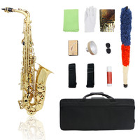 Alto Saxophone High Quality Sax Glossy Brass Engraved Eb E Flat Natural White Shell Button Saxophone with Strap Padded Case
