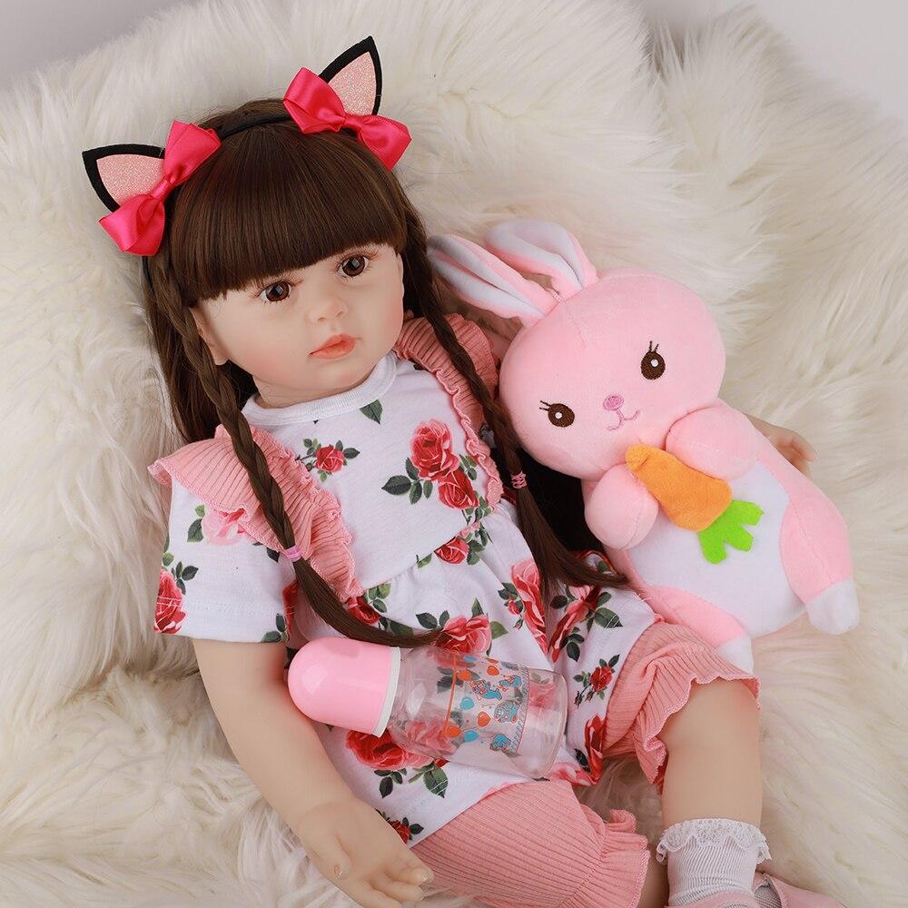 Милая кукла принцесса, 24 дюйма, Реалистичная кукла-реборн для девочек, 60 см, Силиконовые мягкие куклы-реборн для девочек, подарки на день рож...