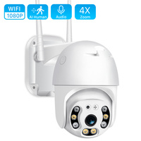 Cámara de seguridad PTZ inalámbrica para exteriores, dispositivo de vigilancia P2P de 1080P con WIFI, domo de velocidad, Pan Tilt, 4x Zoom, red IR