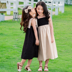 Image 2 - 2020 Summer New Girls Dresses Bow Baby Princess Dress  Two Colors Patchwork Sleeveless Kids Cotton Dresses for Children, #8291