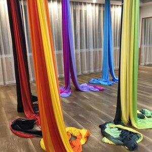 Image 5 - Nowy 15 jardów 13.7M Ombre Aerial Silk wysokiej jakości Gradational kolory Aerial Yoga Anti gravity do treningu jogi joga dla sportu