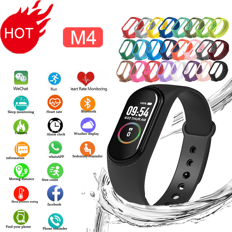 M4 Smart Silicone Watchs Sport Wristbands For Men LED Screen Fitness Traker Bluetooth Waterproof Family Gift  Fitness Tracker