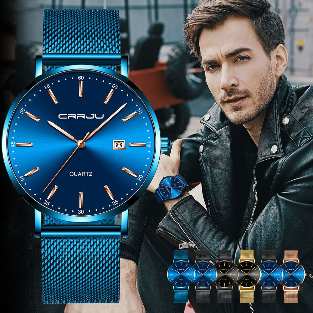 CRRJU Men Watch Top Brand Luxury Men's Wristwatch Fashion Casual Ultra-thin Minimalist Watch Quartz Date Clock Relogio Masculino