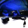 Lampe d'ambiance intérieur voiture USB 5V   Bleu  lumière d'étoile de toit  rotation étoilée + télécommande