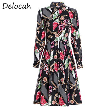 Delocah Summer Women Fashion Runway A-Line Dress Long Sleeve Vintage Printed Elegant Slim Female Party Midi Dresses vestidos delocah new women autumn dress runway fashion 3 4 sleeve floral printed beading back zipper elegant vintage party mini dresses