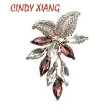 CINDY XIANG flor cristalina grande broche Pines de uvas y broches boda joyería bisutería vestido con ramillete accesorios de abrigo