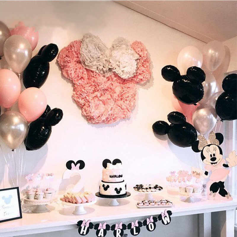 "XXYYZZ 1set Mickey Minnie Head Foil Balloons Pink Silver 10"" Latex Balloon For Theme Party Birthday Party Wedding Decoration Bal"