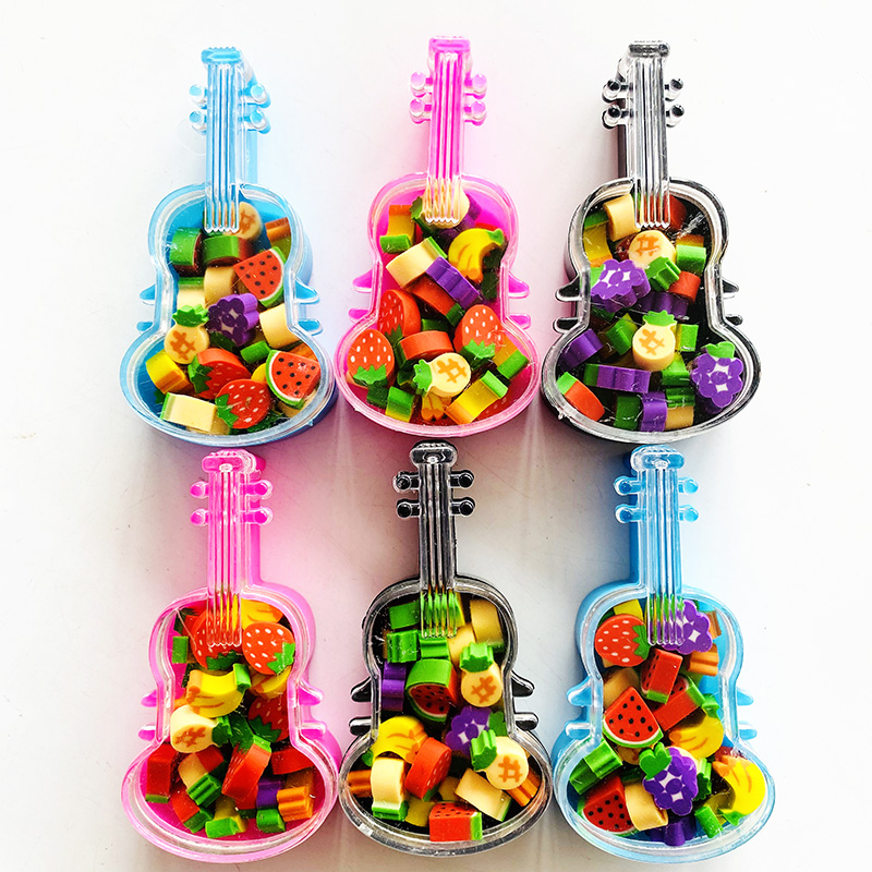 1Pack Cute Violin Style Fruit Series Banana Grape Eraser Drawing Writing Correction School Office Supply Student Stationery