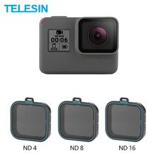 TELESIN Paquete de 3 filtros de densidad neutra para Gopro Hero 5 Hero 6 7, juego de protectores de lente ND (8 ND4 16), Accesorios Negros