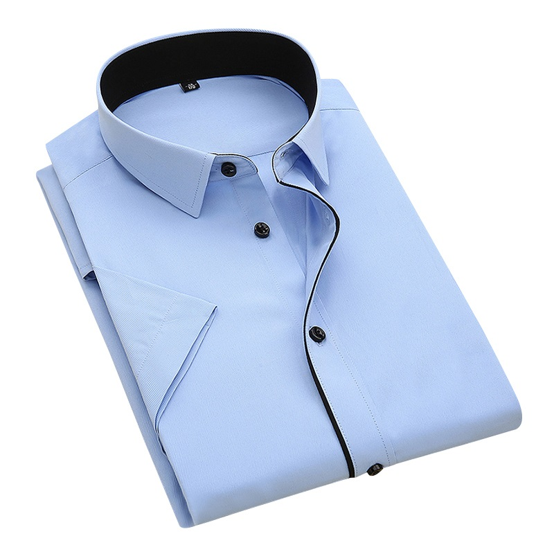 DAVYDAISY 2020 New Summer Men Shirt Short Sleeved Fashion Solid Twill Male Shirts Formal Business White camisa masculina DS249 1