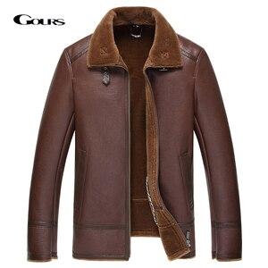 Image 1 - Gours החורף אמיתי עור מעילי Mens בגדי אופנה חום אמיתי כבש ארוך טייס מעיל עם צמר בטנה חם GSJF1850