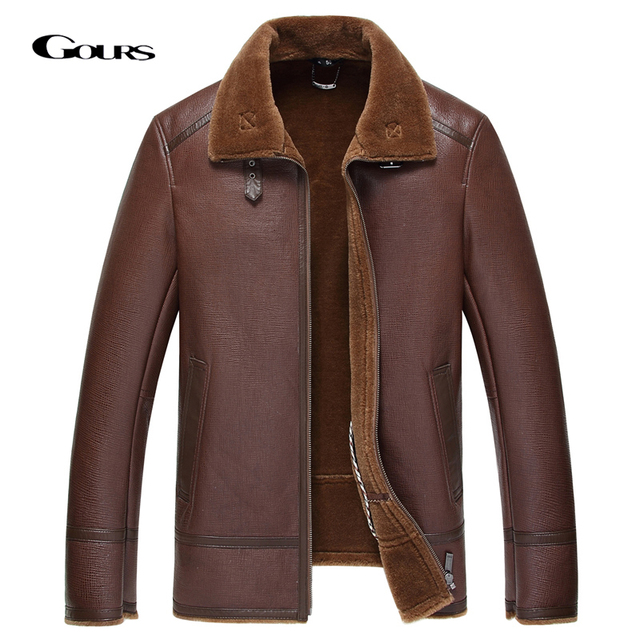 Gours החורף אמיתי עור מעילי Mens בגדי אופנה חום אמיתי כבש ארוך טייס מעיל עם צמר בטנה חם GSJF1850