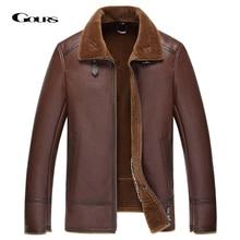 Gours kış hakiki DERİ CEKETLER erkek giyim moda kahverengi gerçek koyun derisi uzun Aviator ceket yün astar sıcak GSJF1850