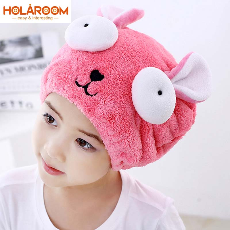Cute Bath Towel Cartoon Rabbit Hair Dry Hat Strong Absorbing Ultra -Soft Embroidered Towel Children's Special Dry Hair Cap Towel