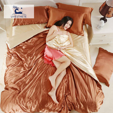 Liv_Esthete Luxury Bedding Set Quilt Cover Flat Sheet Silk Family Fitted Elastic Band Double Adult Bedspread Linen